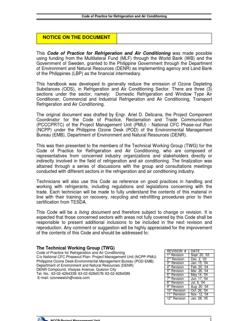 Code of practice in refrigeration and air conditioning code of practice in refrigeration and air conditioning chlorofluorocarbon air conditioning xflitez Choice Image