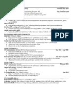 senior year resume
