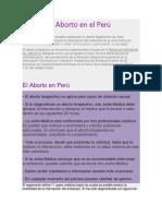 La Ley Del Aborto en El Perú