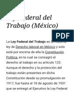Ley Federal Del Trabajo (México) - Wikipedia, La Enciclopedia Libre