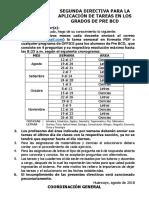 Directiva Agosto Para La Aplicación de Tareas en Los Grados de Pre Bcd 2018