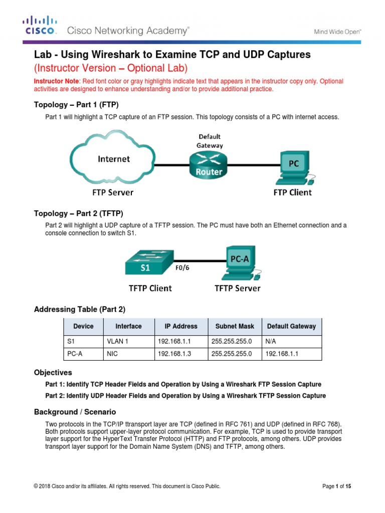 9 2 4 3 Lab - Using Wireshark to Examine TCP and UDP