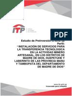 Centro de Innovación Productiva y Transferencia Tecnológica Minero Ambiental en Madre de Dios (ITP, v2015)