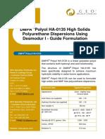 High Solid PU Dispersion Formulation