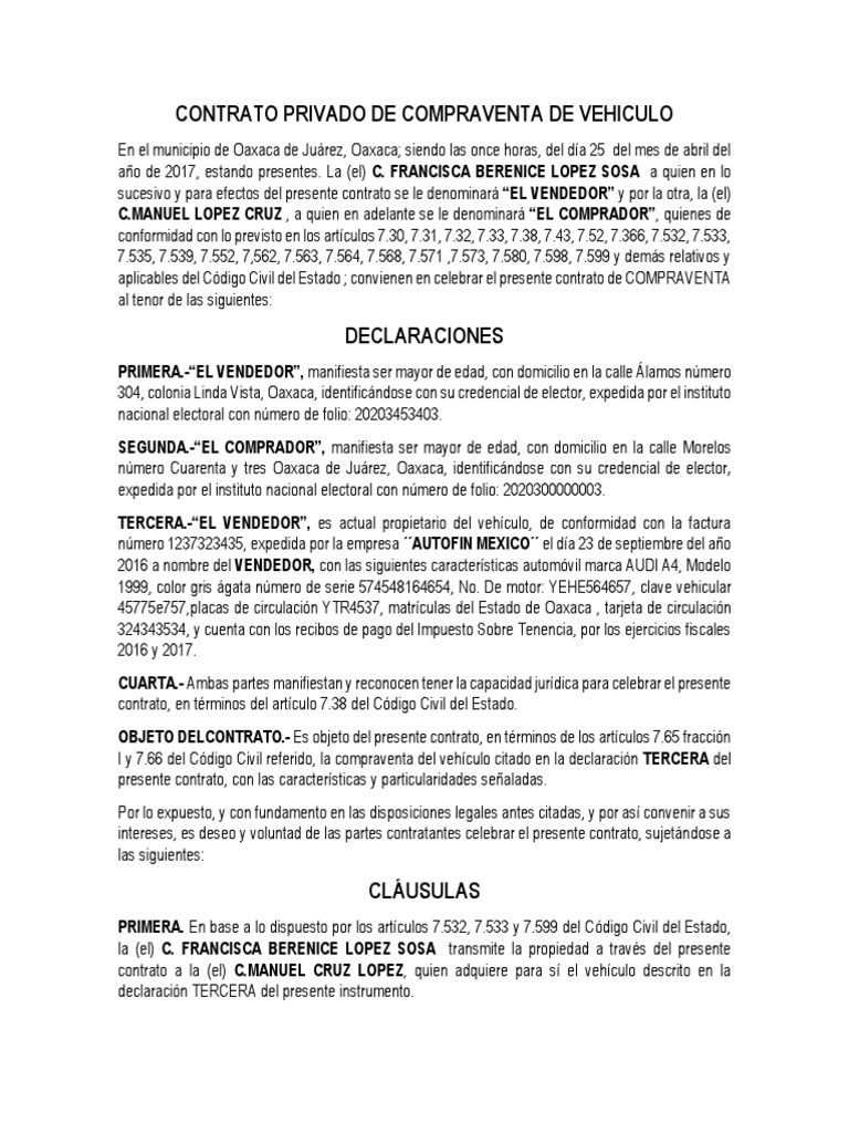 Contrato Privado De Compraventa De Vehiculo Docx Conceptos Legales Derecho Empresarial