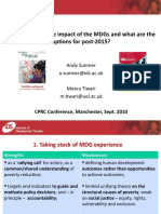 MDG Impacts and Post-2015 Qus
