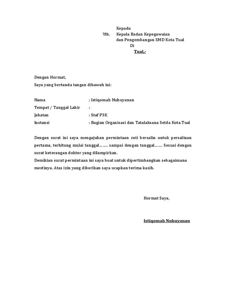 Contoh Surat Cuti Melahirkan Dosen - Kumpulan Cara Tips ...