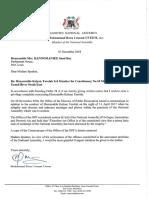 Letter Sent to Honourable Mrs. Hanoomanjee Re Honourable Kalyan Tarolah (03.12.2018)