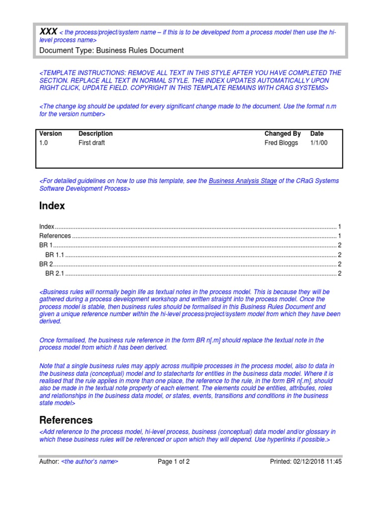 Business Rules Document Template Conceptual Model Data Model Free 30 Day Trial Scribd
