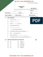 CBSE Class 1 Mathematics Sample Paper Set K