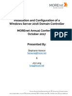Installation and Configuration of a Windows Server 2016 Domain Controller