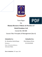 Human Resource Policies & Practices of  Otobi Furniture Ltd