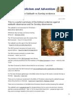 A Summary of the Sabbath vs Sunday Evidence