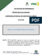 Especificações CAIXA MCMV