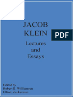 Jacob Klein Lectures and Essays - SJC - St. Johns College