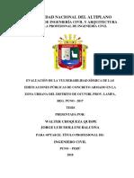 EVALUACIÓN DE LA VULNERABILIDAD SÍSMICA DE LAS EDIFICACIONES PÚBLICAS DE CONCRETO ARMADO EN LA ZONA URBANA DEL DISTRITO DE OCUVIRI, PROV. LAMPA, REG. PUNO – 2017