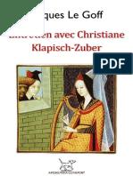 GOFF, Jacques Le = Entretien avec Christiane Klapisch-Zuber