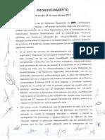 PRONUNCIAMIENTO sobre el proceso de OT en el Perú