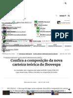 Confira a Composição Da Nova Carteira Teórica Do Ibovespa - InfoMoney