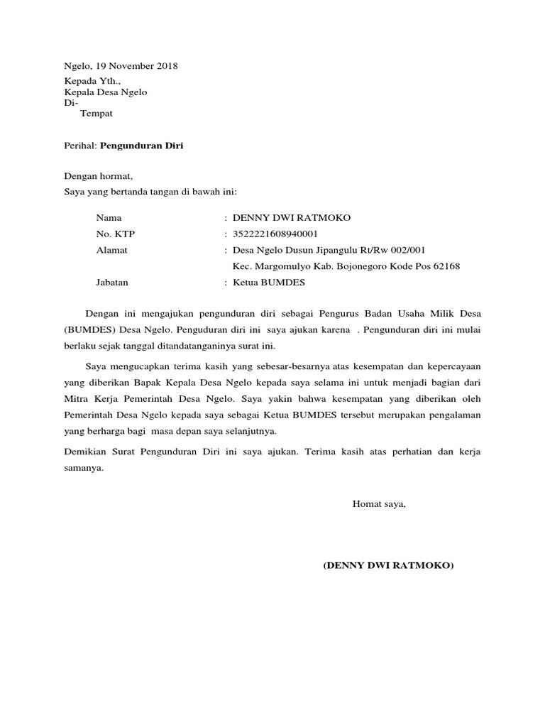 Contoh Surat Pengunduran Diri Dari Jabatan Ketua Bumdes
