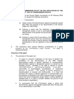 2005 NZ Human Rights Commission Policy on the Application of the Human Rights Act 1993 to Transgender People