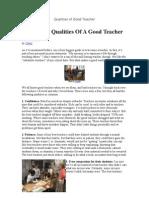 Qualities of Good Teacher