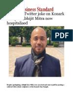 Jailed for Twitter Joke on Konark Temple, Abhijit Mitra Now Hospitalised