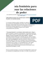 Economía Feminista Para Cuestionar Las Relaciones de Poder