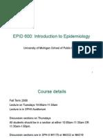 22674817 Epid 600 Class 1 Intro to Epidemiology