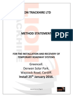 Method Statement for the installation and recovery of temporary roadways
