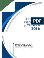 Informe de Gestión y Cuenta 2016