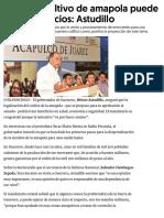 08-10-2018 Legalizar Cultivo de Amapola Puede Traer Beneficios.