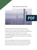 El Primer Parque Eólico Del Perú