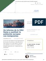 Un Informe de La ONU Llama a Sustituir La Población Europea Con Inmigrantes