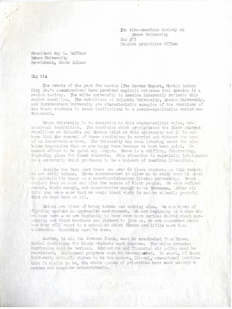 Letter from the Afro-American Society at Brown