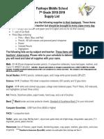7th Grade Supply List 2018-2019