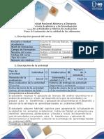 Guía Actividades y Rúbrica de Evaluación. Paso 3_Evaluación de La Calidad de Los Alimentos