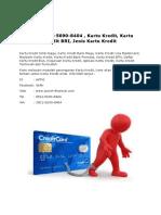 T-Sel 0812-4544-2954 , Kartu Kredit, Kartu Kredit BRI, Jenis Kartu Kredit