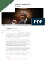 Kofi Annan's Contribution to Myanmar's Pressing Rakhine Crisis