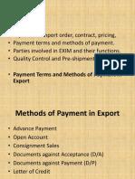 Methods of Payment in Export
