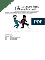 (T-sel) 0812-4544-2954 Kartu Kredit, Kartu Kredit BRI,Jenis Kartu Kredit