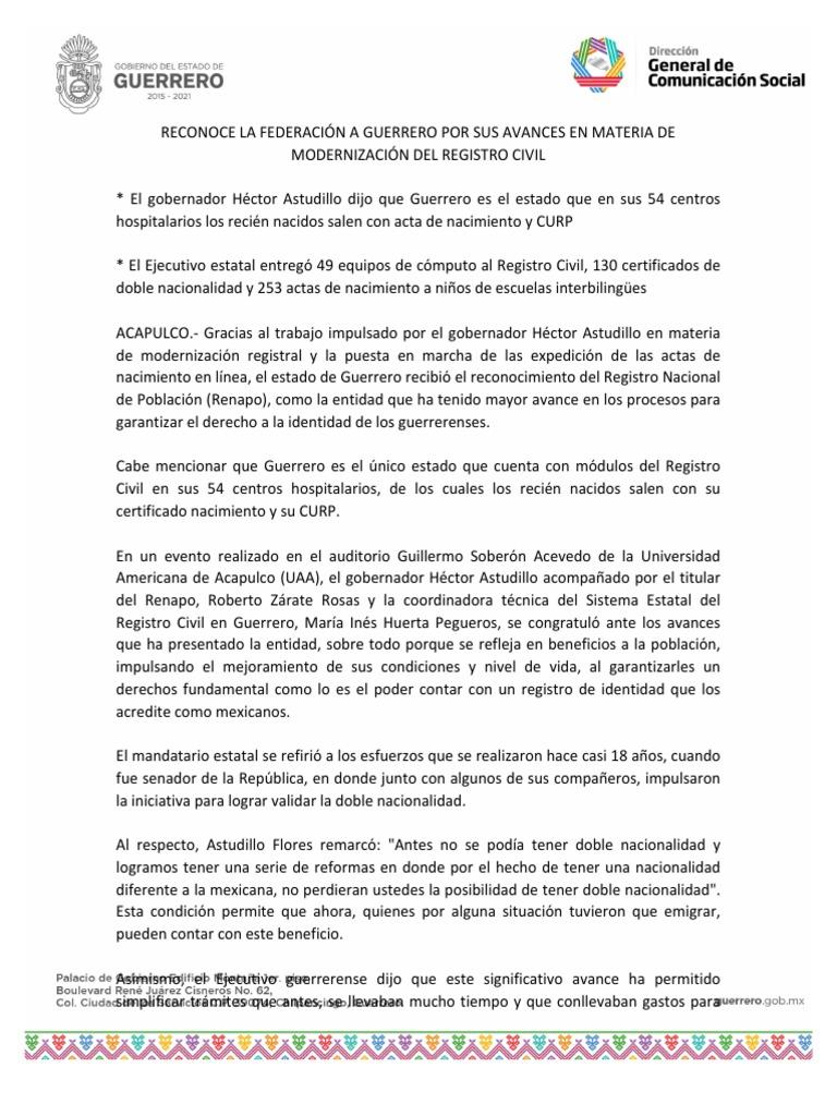 23 10 2018 Reconoce La Federación A Guerrero Por Sus Avances