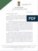 Shashi Tharoor letter to D.K.Gandhi