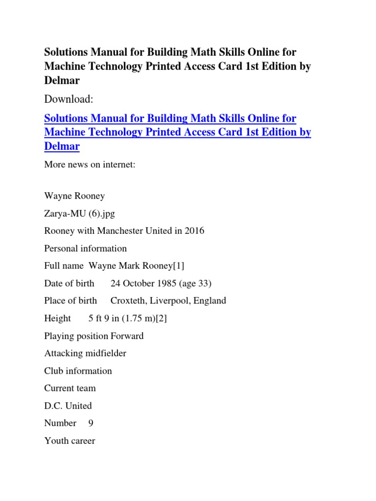 Solutions Manual for Building Math Skills Online for Machine Technology  Printed Access Card 1st Edition by Delmar | Premier League | Manchester  United F.C.