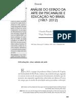 PEREIRA, Marcelo Ricardo; SILVEIRA, Wegis Herculano - Analise Estado Da Arte Em Psicanalise e Educação No Brasil