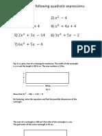 Quadratics Starter