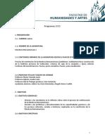 Programa de La Cátedra Literatura Iberoamericana I - Año 2015