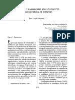 Lenguaje y Paradigmas en Estudiantes Universitarios de Ciencias. José Luis Córdoba F.