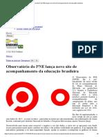 Observatório Do PNE Lança Novo Site de Acompanhamento Da Educação Brasileira