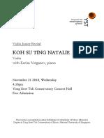 Natalie Junior Recital Programme Notes